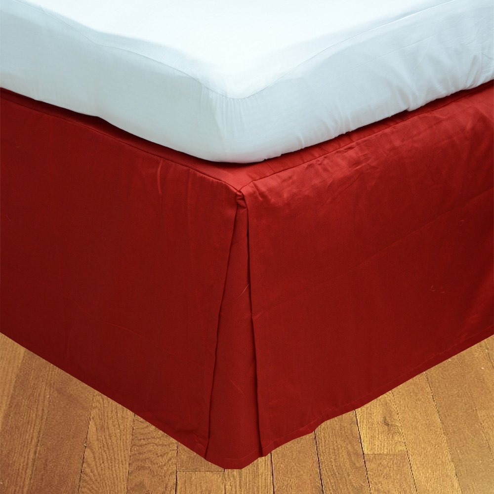 Relaxare Twin 300TC 100% Egyptian Cotton Blood Red Solid 1PCs Box Pleated Bedskirt Solid (Drop Length: 10 inches) - Ultra Soft Breathable Premium Fabric