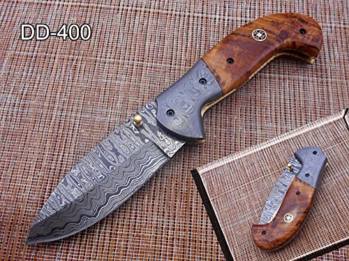 "7.5"" Folding Knife, Hand Forged Twist Pattern Damascus Steel Rose Wood Scale with Damascus Bolster Pocket Knife, Equipped with Brass Liner Lock & Thumb knob, Cow Hide Leather Sheath (Wood)"