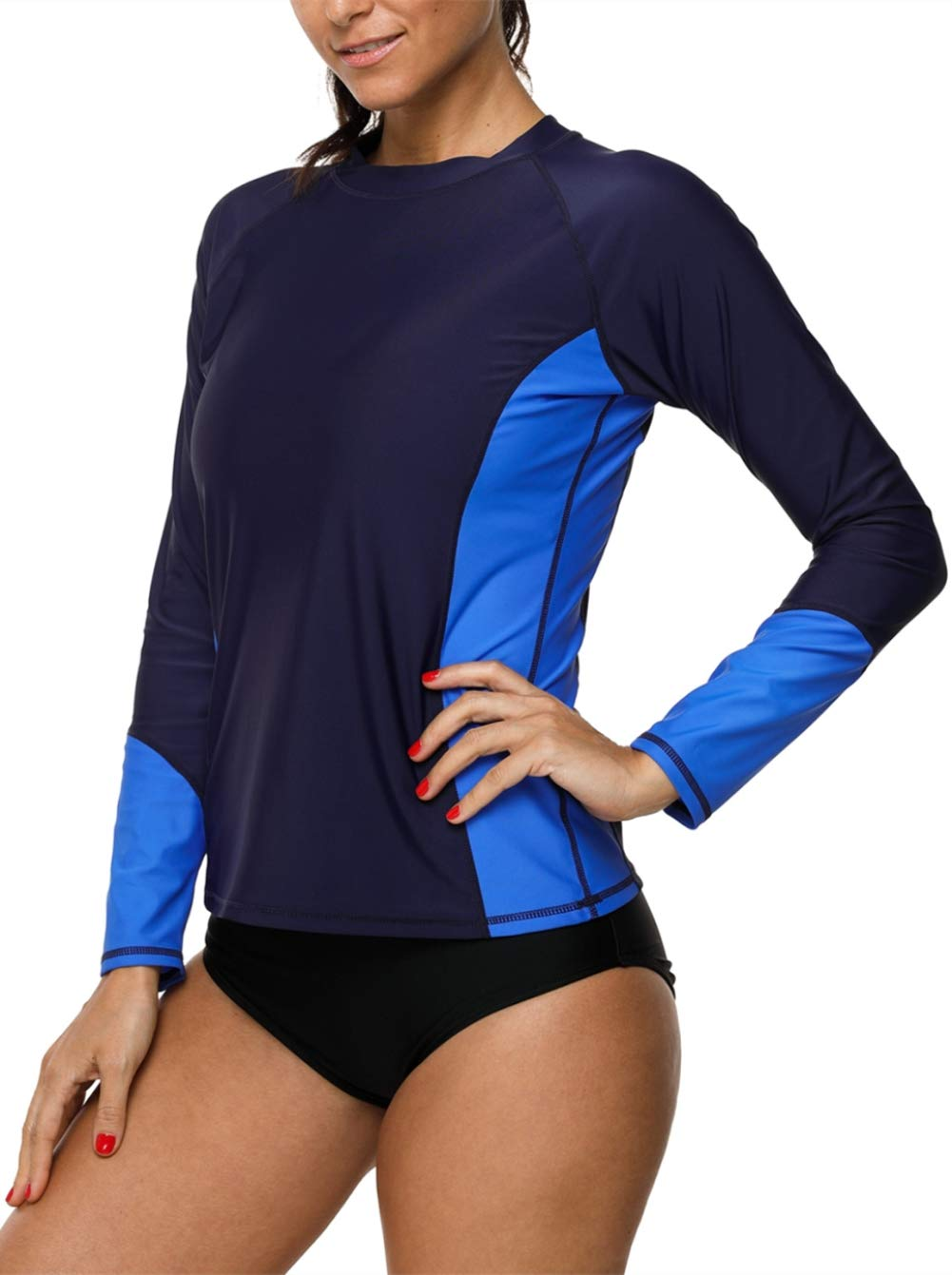 bluee beautyin Women's LongSleeve Rashguard UPF 50+ Swimwear Rash Guard Athletic Tops