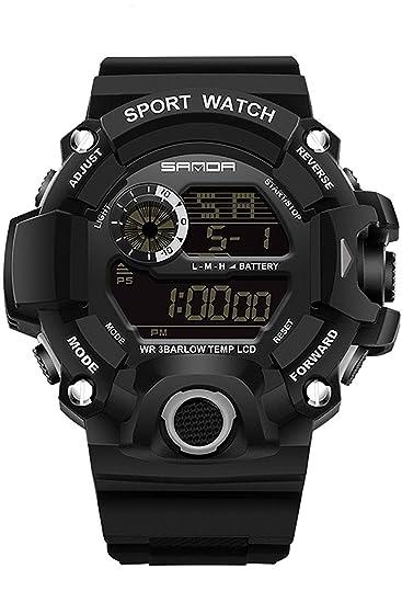 Sanda Military Watches Mens Big Face Digital Sport Reloj de Pulsera Negro Verde Cronómetro: Amazon.es: Relojes