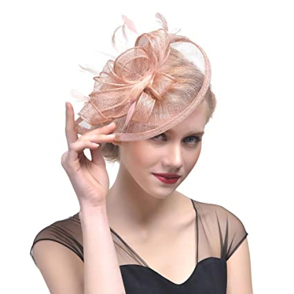 Amazon.com  Sinamay Feather Fascinators Womens Pillbox Flower Derby Hat for Cocktail  Ball Wedding Church Tea Party (Khaki)  Home Audio   Theater 524b54344497