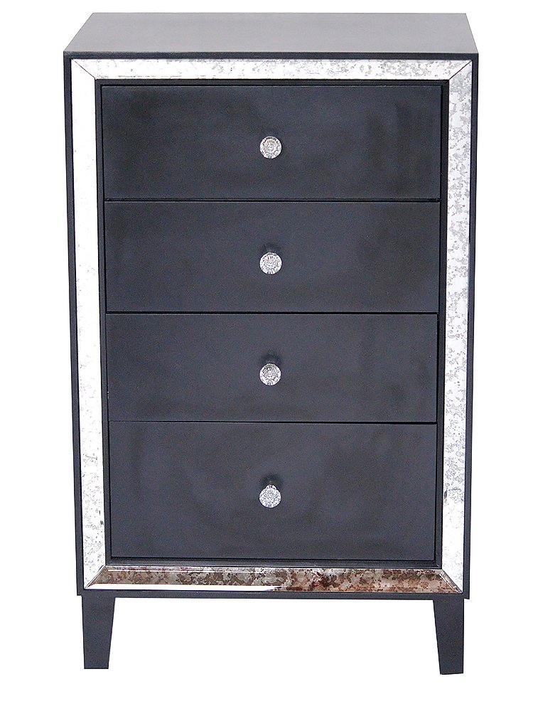 Heather Ann Creations W192136-BLK 37.3'' Black Avery Collection Tall Freestanding 4 Drawer Cabinet with Antique Mirror Accents