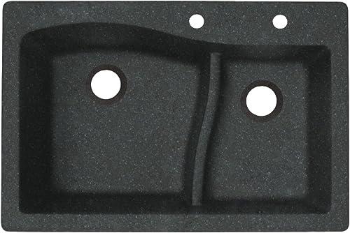 Swanstone QZ03322LS.077-2C 2-Hole Granite Kitchen Sink, 22 x 33 , Nero