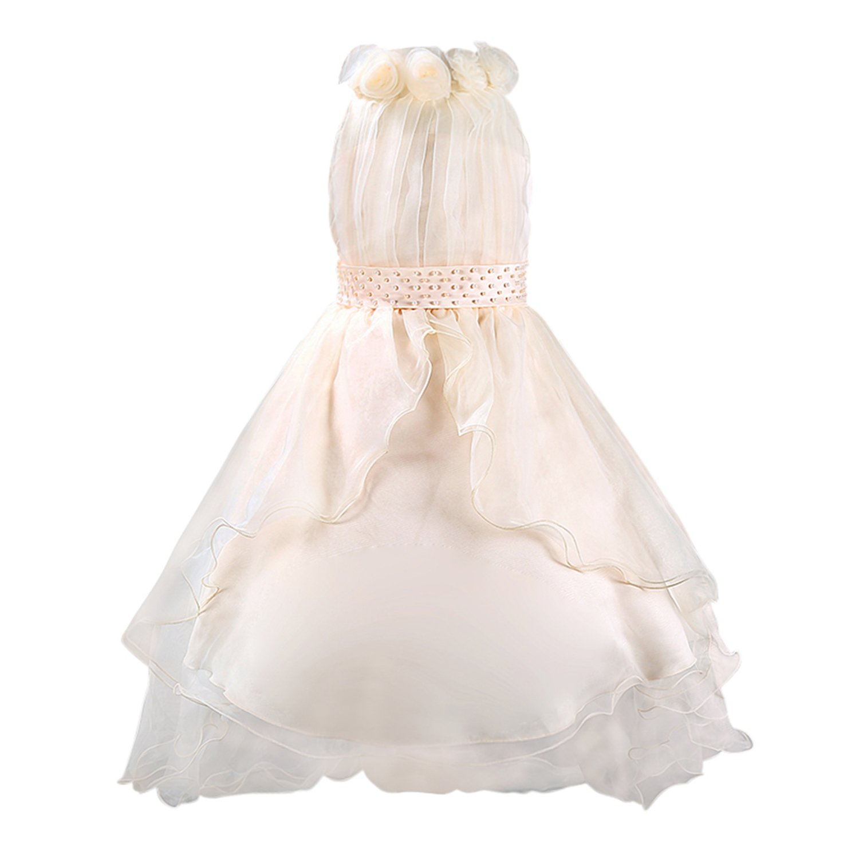 Katara niña de las flores, vestido de noche con velo para niños de 3-4 años, color beige: Amazon.es: Juguetes y juegos