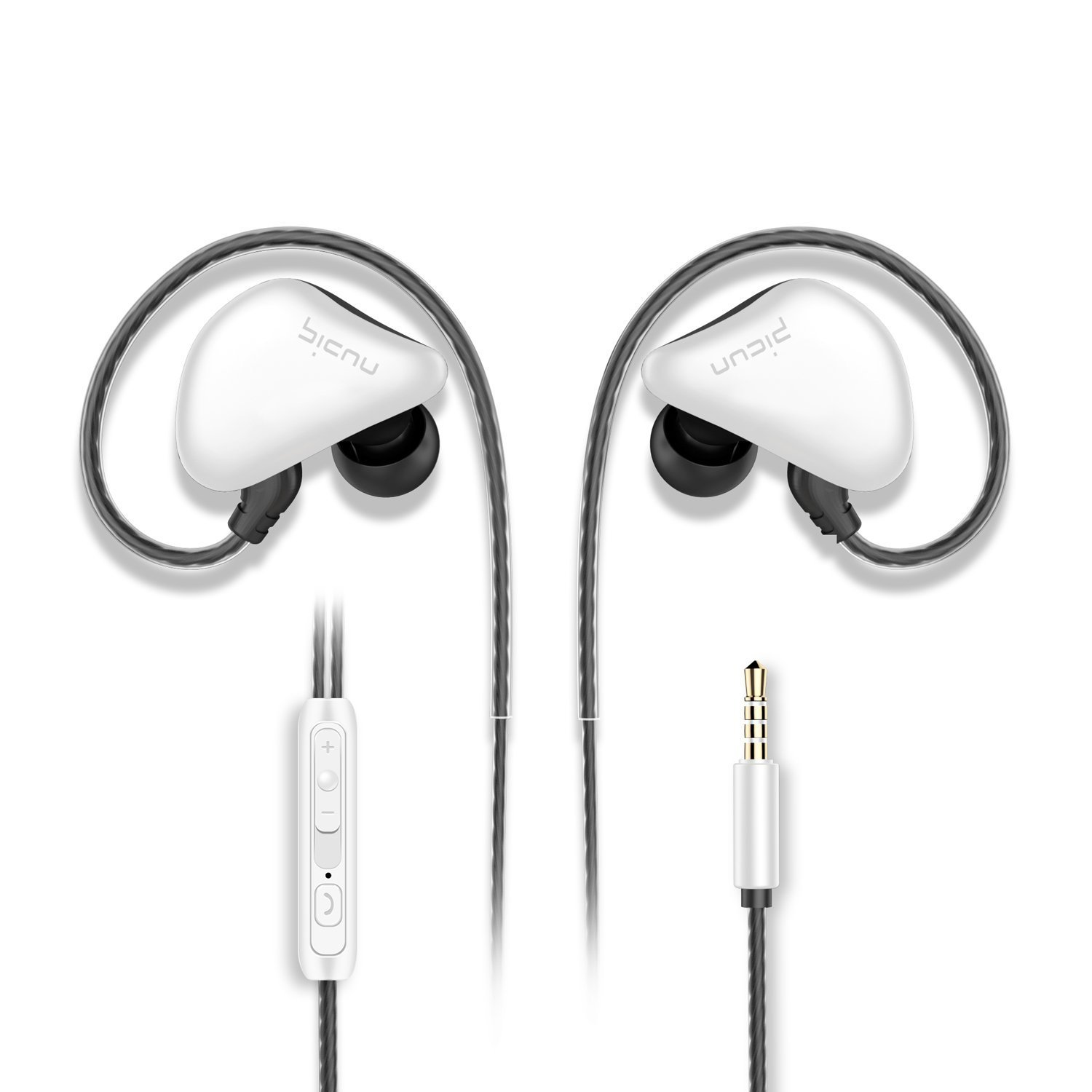 Picun S6 Sports Earbuds In Ear Headphones with Microphone&Volume Control for Running Gym Workout Jogging,Earphones for iPhone iPad iPod Tablets Android Smartphones Laptop Tablets MP3/4(Black White)