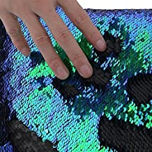 TRLYC One Yard 5MM Reversible Sequin Fabric Green and Black Sequin Fabric, By the Yard, Mermaid Sequin Fabric, Linen