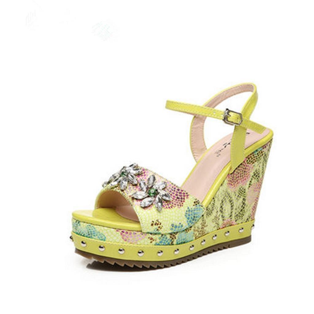 BaiLing Damen Ferse Sommer Sandalen/Wedge Ferse Damen Wasserdicht/Printing Strass Dicke Boden/Kleine Größe Schuhe, Grün, CN39 - c05e3b