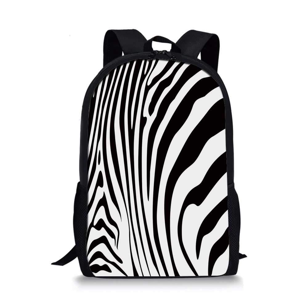 Zebra Print Stylish School Bag,Zebra Animal Skin Pattern Nature Desert Life Theme Simple Stylish Illustration Decorative for Boys,11''L x 5''W x 17''H by C COABALLA