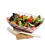 Emmner Disposable Paper Food Tray for Carnivals, Fairs, Festivals, and Picnics. Holds Nachos, Fries, Hot Corn Dogs, chicken wings, mozzarella stick pack of 50 1 lb