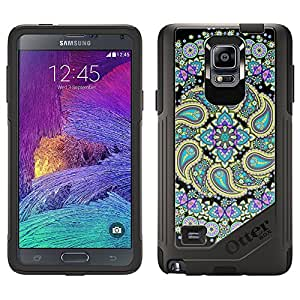 Skin Decal for OtterBox Commuter Samsung Galaxy Note 4 Case - Mandala Pastel Pasiley on Black