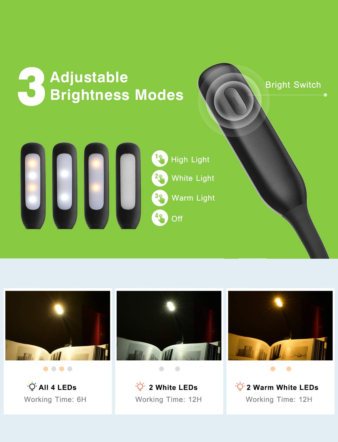 Led Reading Light Topelek Rechargeable Book 3 Level Brighter Lighting With Multiple Leds Brightness Cool And Warm Flexible Easy Clip On Lamp Eye Protection