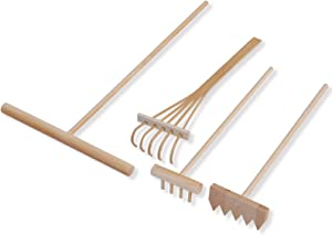 Zen Sandbox Rake 4-Pieces Kit Micro Landscape Decoration Sand Table Bamboo Rake Smoothing Hand Tools Combo Landscape Sand Rakes Feng Shui Gardening Supplies for Home Office