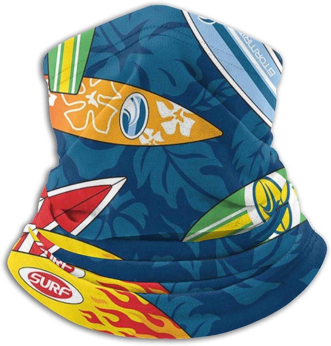 Surfboard Hibiscus Pattern Seamless Neck Warmer Gaiter For Men Women Headband Face Mask Bandana Head Wrap Scarf Headwear Winter Balaclava For Ski Running Motorcycle