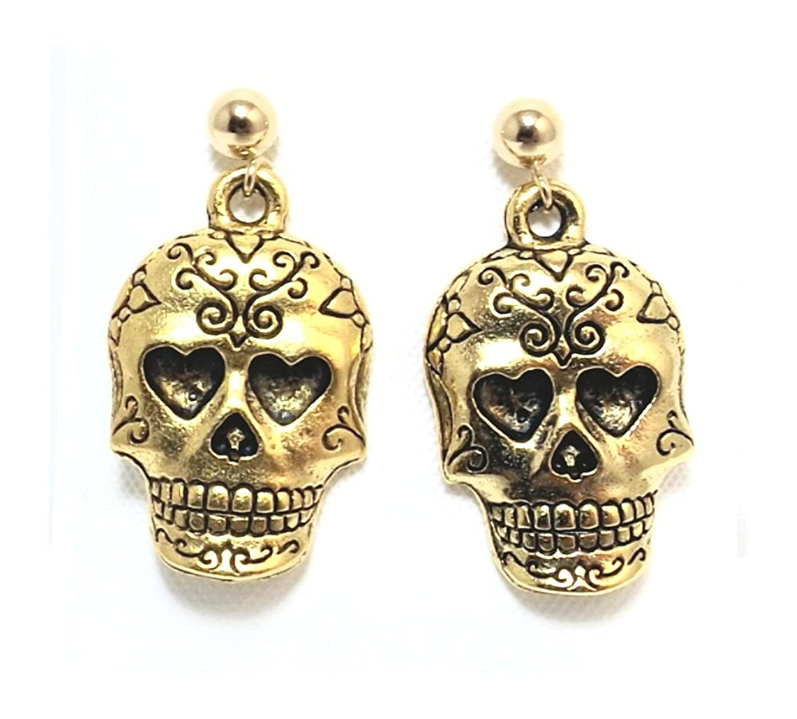 Gold Tone Pewter Sugar Skull Charms on Hypoallergenic Ball Post Stud Earrings 5338