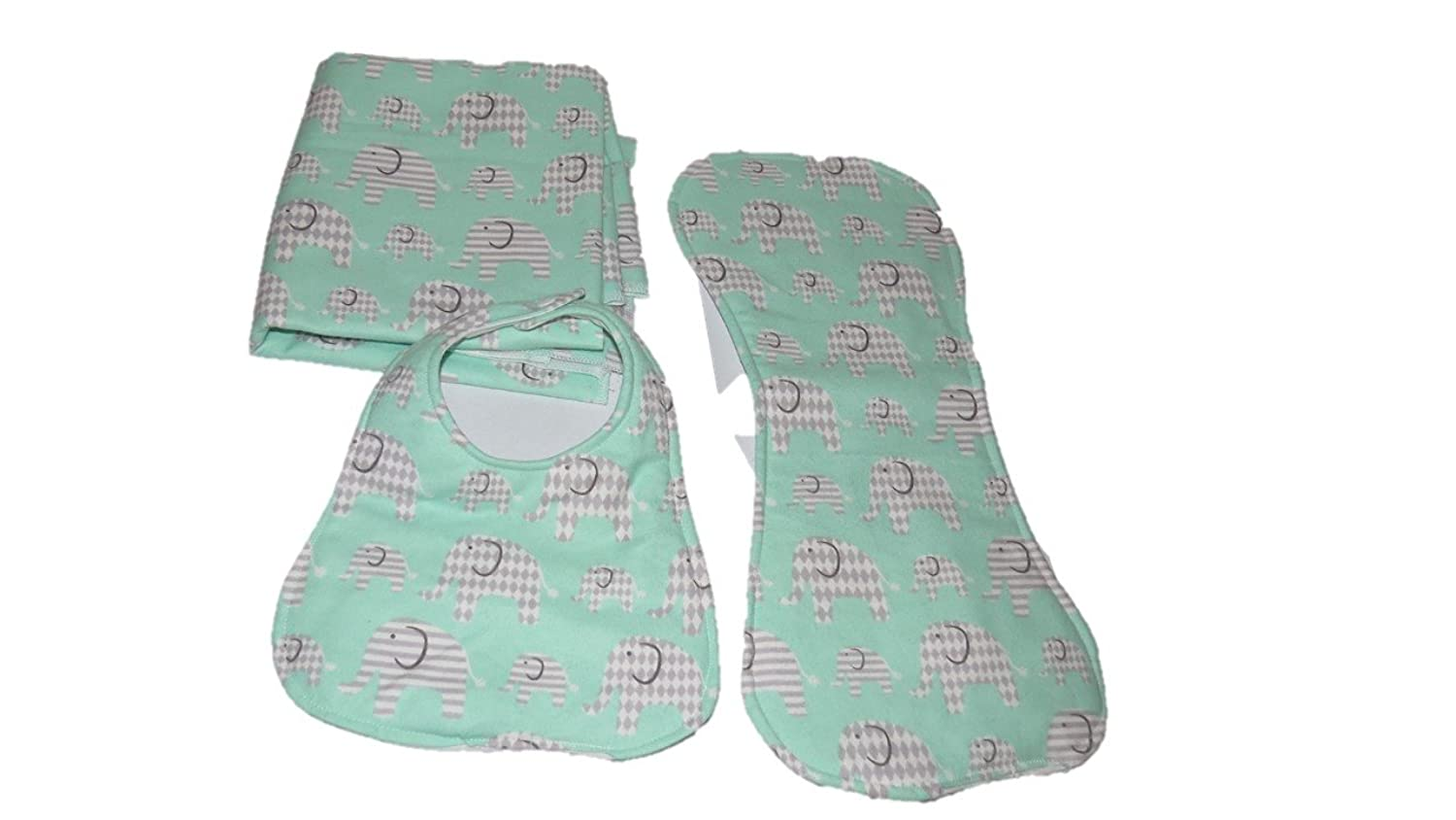 nice Jojo's Boutique Flannel Mint Green and Gray Elephant Animal Burp Cloth, Receiving Blanket, Burp Cloth save more