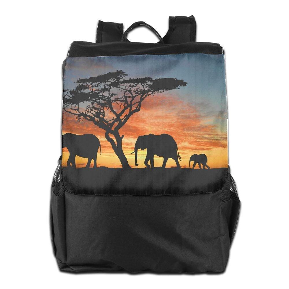Sunset Forest アフリカ象の木 アウトドアバックパック リュックサック スクールバッグ One Size Black 95 B07KWVXRSM