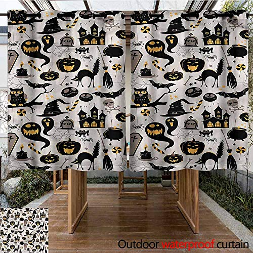 (Sunnyhome Outdoor Curtain Panel for Patio Vintage Halloween Tombstone Skulls Simple Stylish W 55