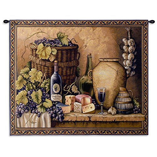 (Pure Country Weavers - Wine Tasting Hand Finished European Style Jacquard Woven Wall Tapestry. USA Size 26x34)