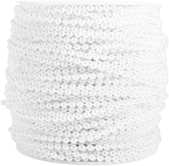 Cadena de cuentas de perlas de 50 m 3 mm, línea de perlas de línea de perlas Cadena Garland Wedding Party Decoration.(White)