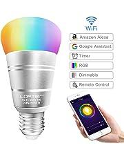 Lampadina Intelligente, LOFTer Lampadina Smart WiFi E27 RGB 7W, Lavora con Echo Alexa/Google Home, Luce Regolabile Compatibile per Dispositivo iOS Android App Controllata, Regalo San Valentino