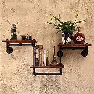 yzghdc Retro Industrial, tuberías de agua Pared estantes de rack de hierro de madera claqueta de flores colgantes decoración flor maceta de Bonsai de madera