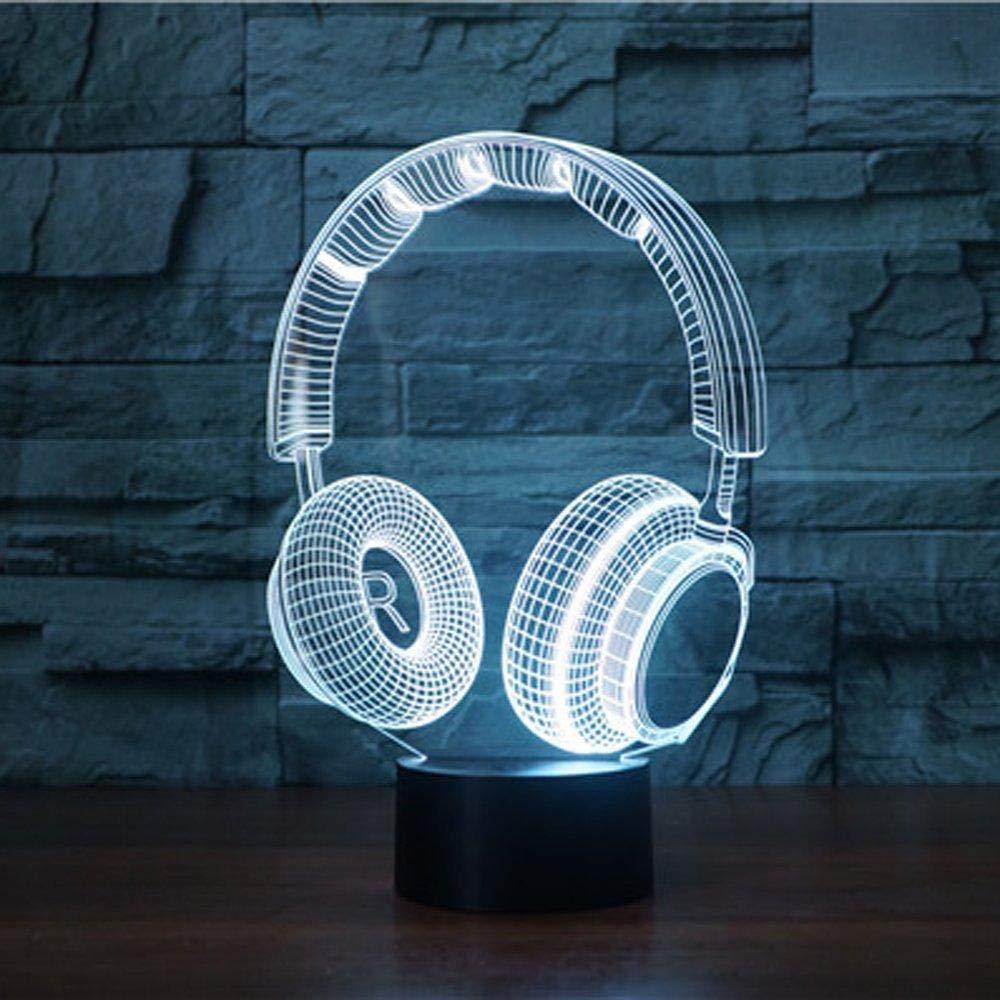 Neue 3D Drahtlose Kopfh/örer Nachtlicht Illusion Lampe 7 Farbwechsel LED USB Touch Tisch Geschenk Kinder Spielzeug Dekor Weihnachtsdekoration Valentinstag Geschenk