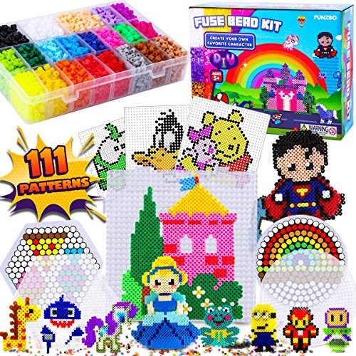 FunzBo Fuse Beads Craft Kit - 111 Patterns Melty Fusion Colored Beads Arts and Crafts Pearler Set for Kids - 5500 5mm Bead 9 pegboards for Boys Girls Age 5 6 7 Classroom Activity Gift Toy