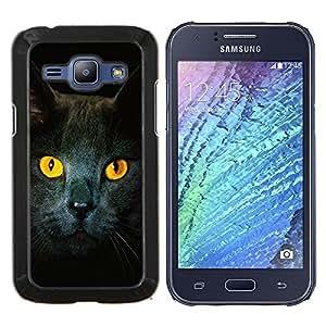 LECELL--Funda protectora / Cubierta / Piel For Samsung Galaxy J1 J100 -- Gato Ojos amarillos Gris Británico de Pelo Corto --