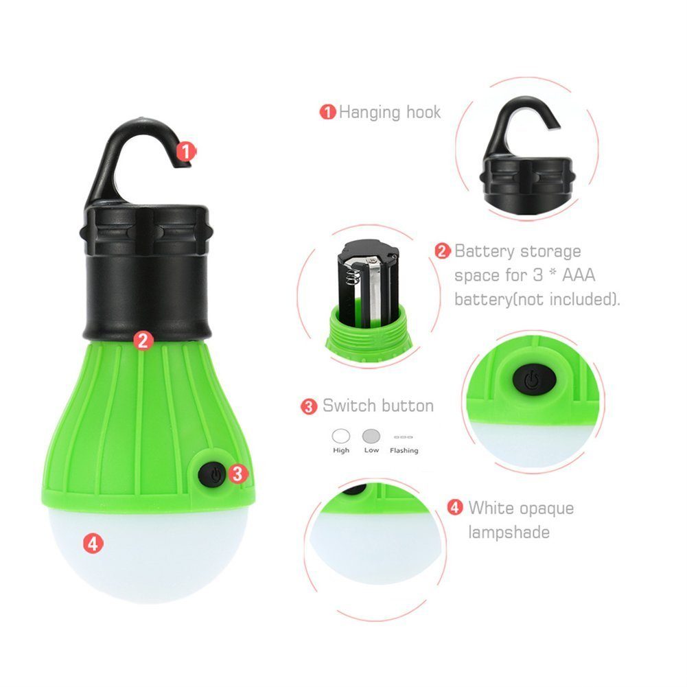 Backpacking LED Camp lamp With Batteries included 2 PACK Green ESCALOLY Compact Hiking Portable Fishing /& Water Resistant Gift Tent Light /& Outdoor Lighting Bug Out Bag Camping Equipment