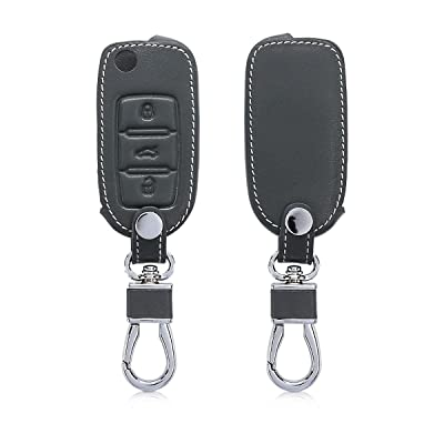 kwmobile Car Key Cover Compatible with VW Skoda SEAT 3 Button Car Key - PU Leather Protective Key Fob Cover - Anthracite: Automotive