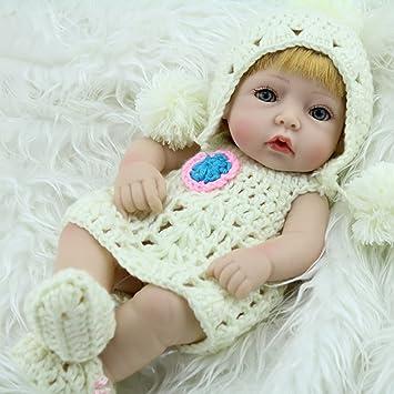 FDBF 28 cm de Pelo Amarillo único renacido muñeca bebé Vinilo Suave ...