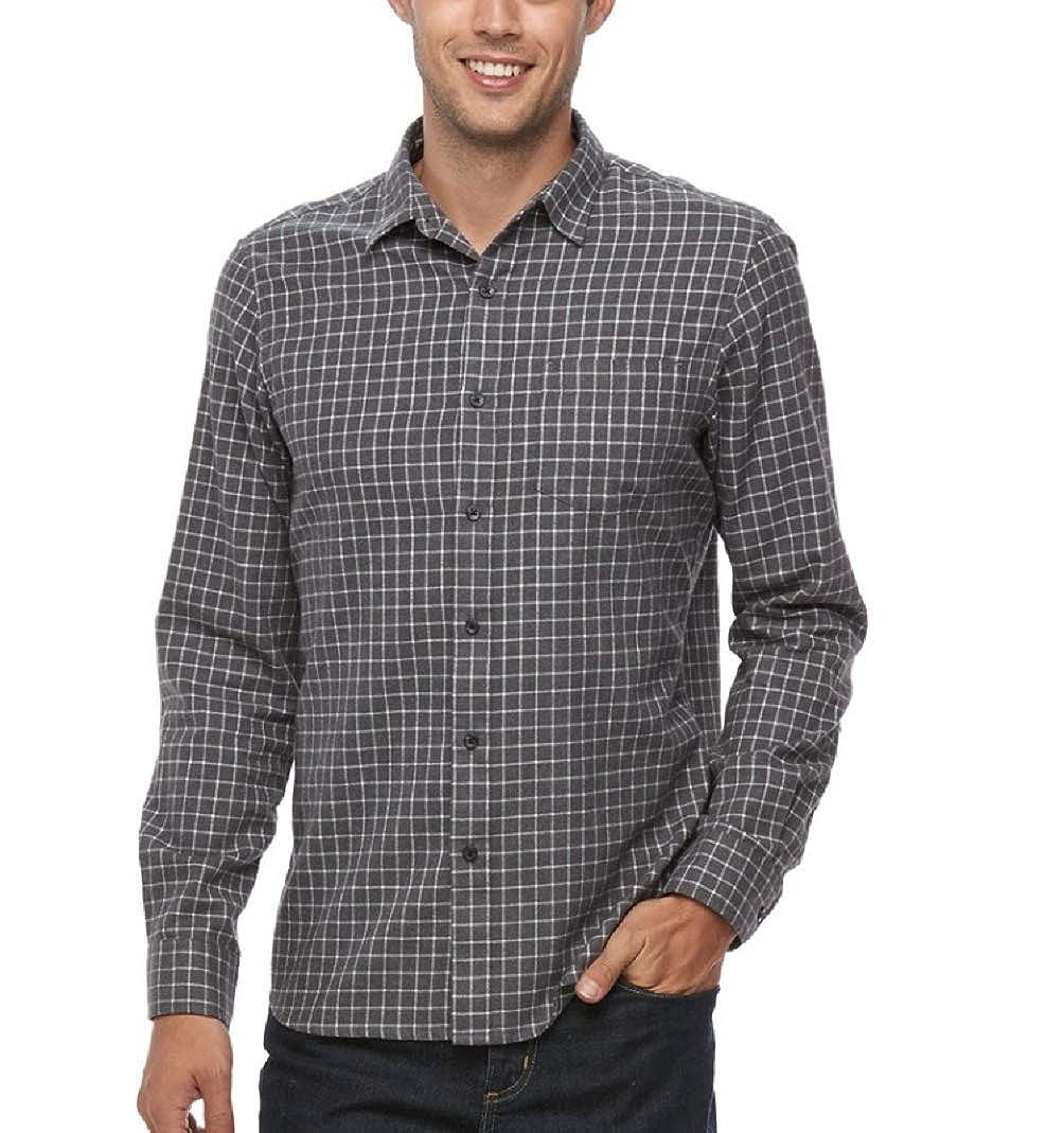 Mens Big /& Tall Apt 9 Modern-Fit Plaid Brushed Flannel Button-Down Shirt