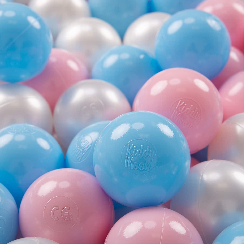 KiddyMoon 100 ∅ 7Cm Bolas Colores De Plástico para Piscina Certificadas para Niños, Azul Celeste Rosa Claro Perla