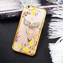 Galaxy Note 5 Case,Secret Garden Butterfly Floral Bling Swarovski Rhinestone Diamond Angel Wing Shape 360 Degree Rotating Ring Kickstand Holder Case for Samsung Galaxy Note 5(Gold-Yellow Flower)