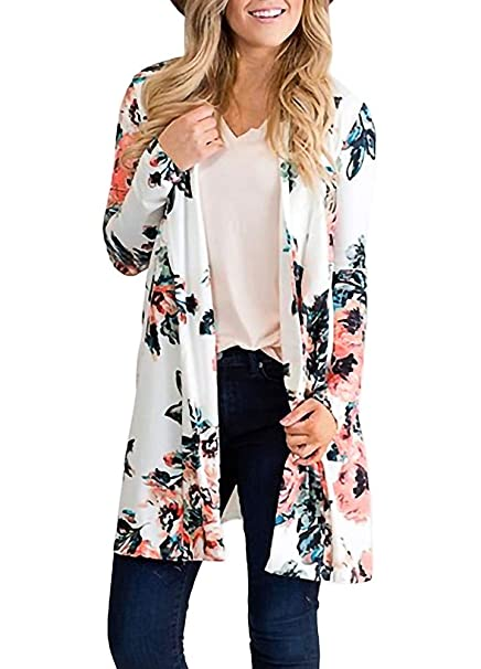e3f2c40fbd Stylish Open Front Spring Floral Cardigans for Women Floral Print Plus Size  Outwear S