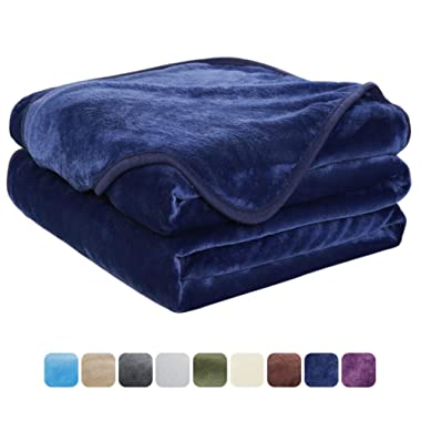 EASELAND Soft Queen Size Summer Blanket Warm Fuzzy Microplush Lightweight Thermal Fleece Blankets for Couch Bed Sofa,90x90 Inches,Dark Blue