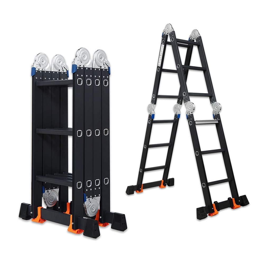 VI-CO 11.7FT Multipurpose Ladder Heavy Duty Combination with Safety Locking Hinges Folding Ladder Extension Ladder with an Extra Widened Step, EN 131 Standard, at Least 330 Lbs Capacity