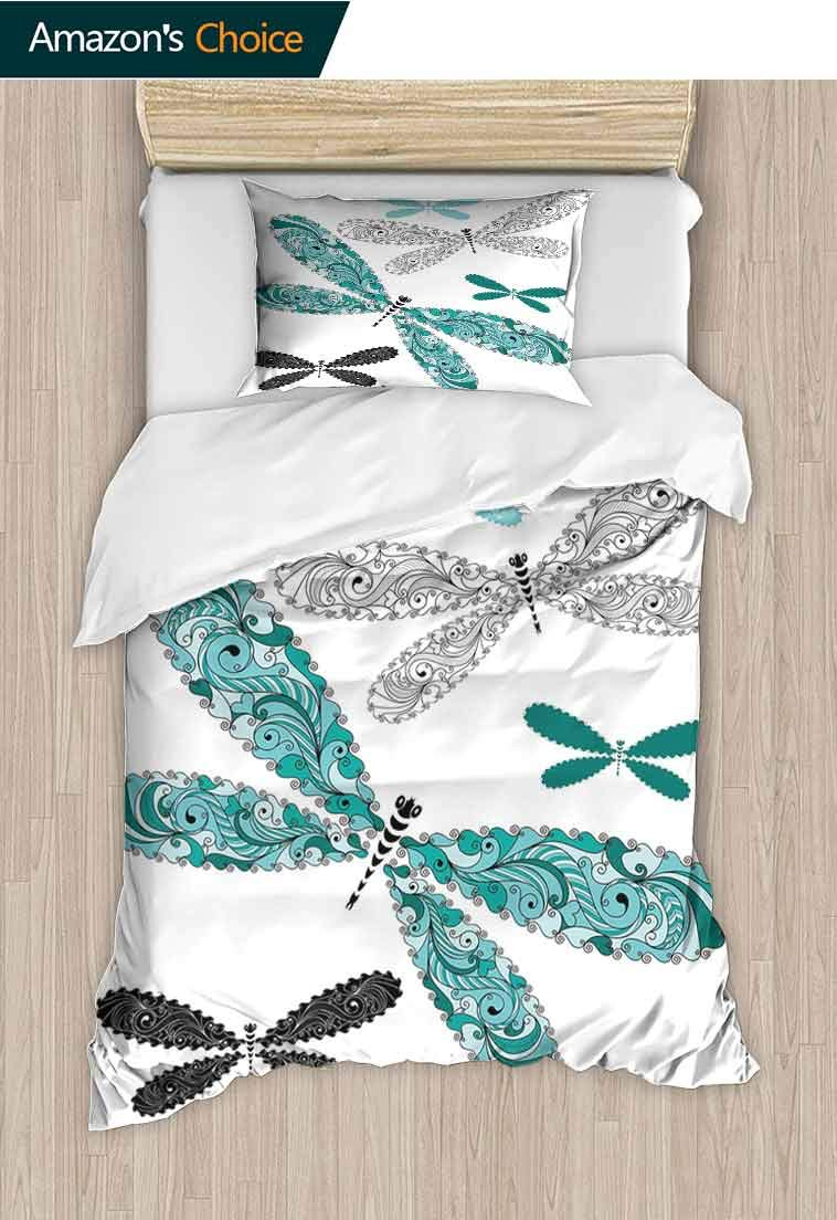 Dragonfly Printed Duvet Cover and Pillowcase Set, Ornamental Dragonfly Figures with Lace and Damask Effects Artsy Image, Bedding Sets with Soft Lightweight Microfiber 1 Duvet Cover and 1 Pillow Shams