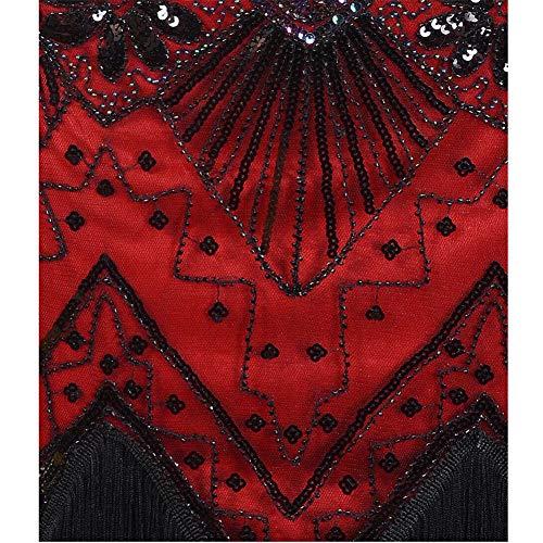 Winered Prom Para V Tema Vestido 1920 black Flecos Mujeres Cuello s Luckgxy Con Flapper De Noche Las Gatsby T4q4BwF