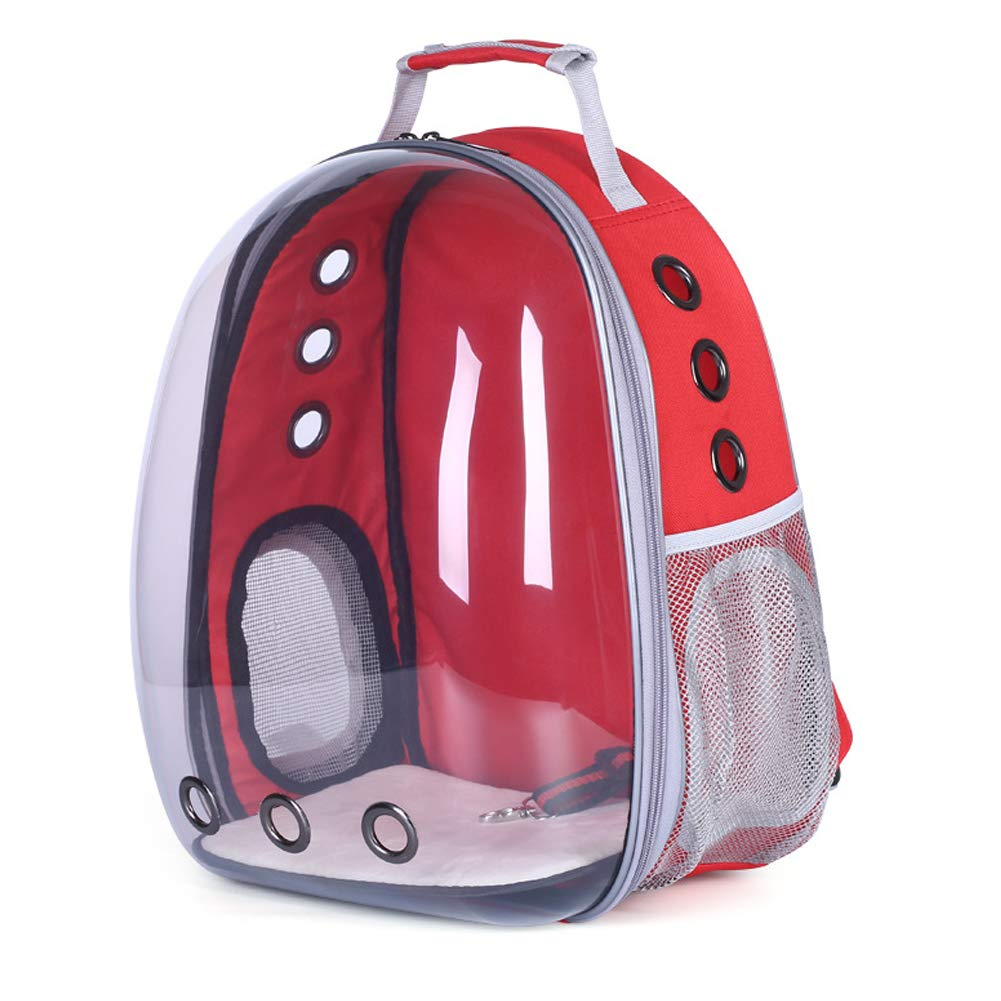 Red HENRYY Pet bag panoramic side opening transparent pet backpack out portable shoulder pet supplies cat bag dog bag pet space capsuleyellow