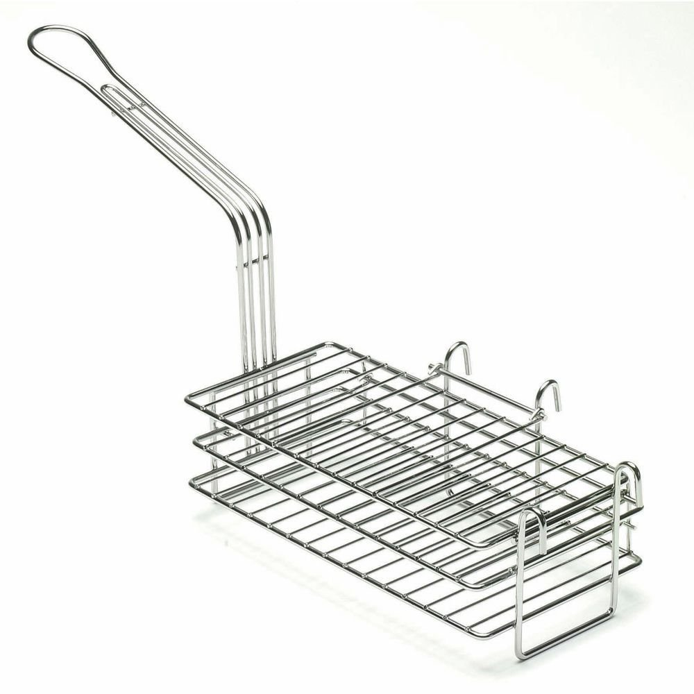 Pronto Products Red Handled Stainless Steel Turnover/Burrito Fry Basket - 12 1/2 L x 6'' W x 4 5/8 D