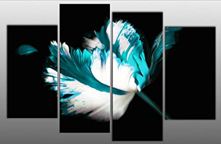 Large teal turquoise white black floral canvas artwork 4 pieces multi panel split canvas completely ready