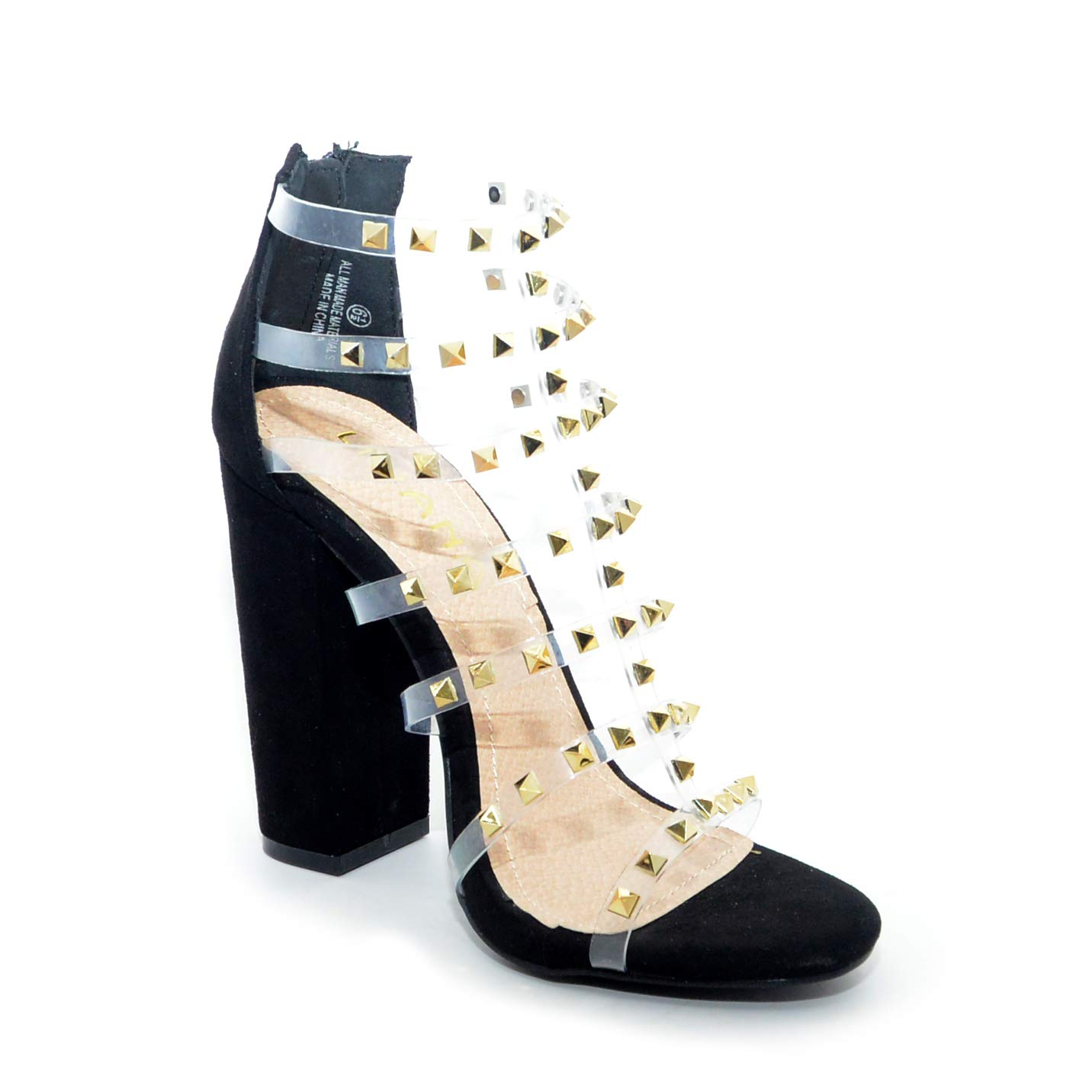 e50d3decfba Amazon.com | Liliana Ilyse-78 Black Transparent Clear Studded Straps ...