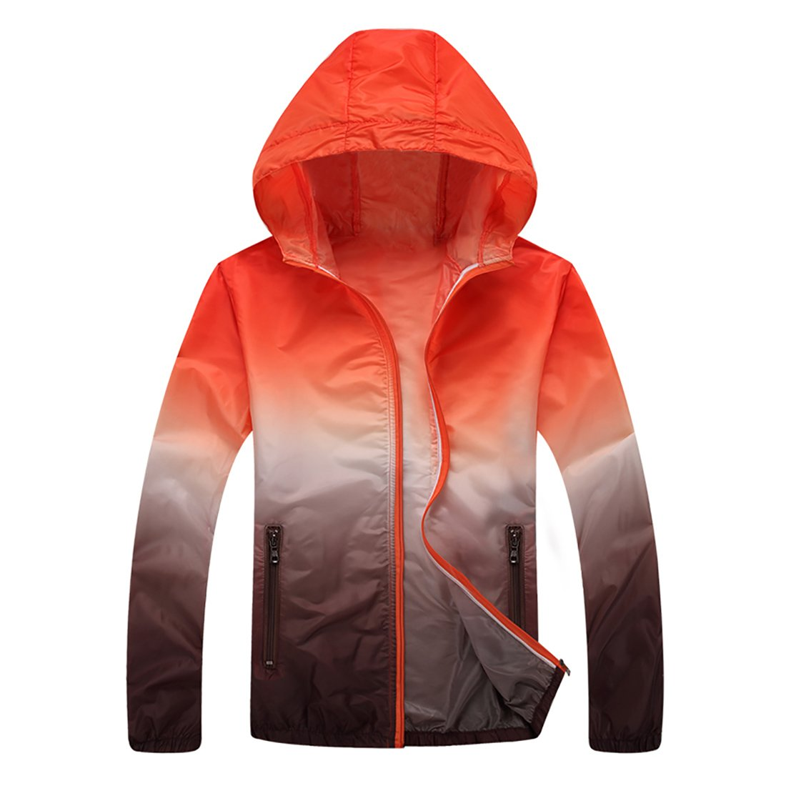Panegy Unisex Sunscreen Hoodie Jacket Lightweight Drys Quickly Zipper Breathable Thin Sunblock Suit Rain Coat Orange Brown Large by Panegy (Image #1)