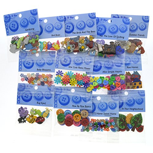 Dress It Up 9083 Buttons Row by Row Experience - Home Sweet Home Button Assortment - 12 Pack - Includes Free Button Pack