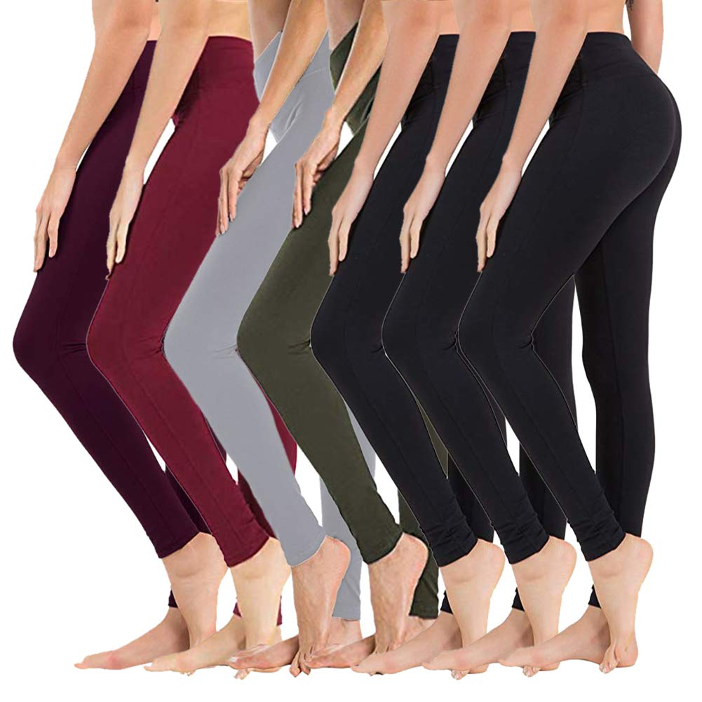 High Waisted Leggings for Women - Soft Athletic Tummy Control Pants for Running Cycling Yoga Workout - Reg & Plus Size (7 Pack Black3/Olive/Light Grey/Vintage Violet/Wine, Extra Size (US 24-32)) by SYRINX