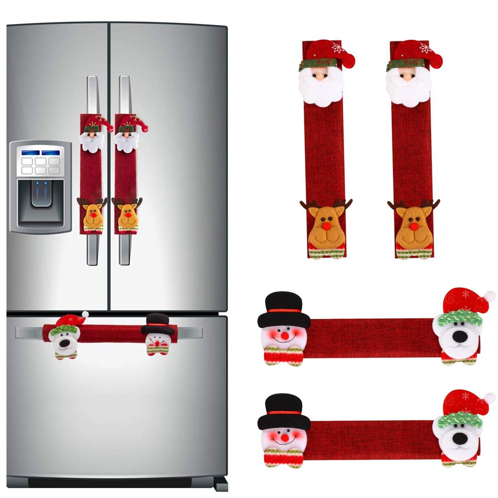 Christmas Snowman Refrigerator Handle Covers, Adorable Adorable Xmas Kitchen Decorations Appliance Cover, Santa Claus Elk Handle Covers for Fridge Microwave Oven Dishwasher (4 Pack)