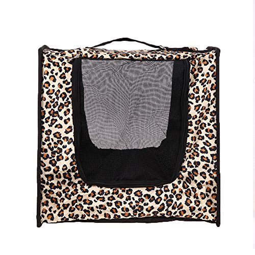 Awakingdemi Pet Carrier,Airline Pet Carrier,Portable Collapsible Dog Cat Bag Traveling Breathable Pet Carrier (Leopard Print) Leopard Print Pet Carrier