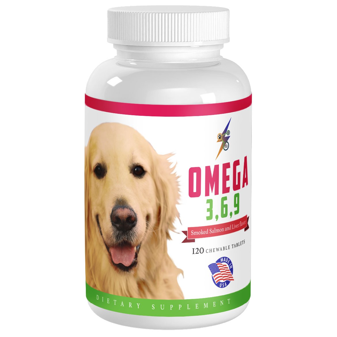 Best Omega 3 6 9 Fish Oil for Dogs - Helps with Itchy Skin, Coat, Joints, Heart and Brain - Fatty Acids Dog Supplements - Boost Immune System - 120 Chewable Tablets (Salmon Flavor) by Health Kick Store