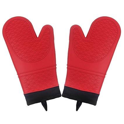 Silicona Guantes para horno | 4 piezas antideslizante cocina manopla guantes con resistente al agua se